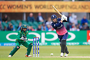 England womens cricket player Natalie Sciver  with an off drive for a boundary during the ICC Women's World Cup match between England and Pakistan at the Fischer County Ground, Grace Road, Leicester, United Kingdom on 27 June 2017. Photo by Simon Davies.