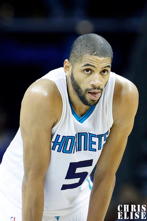 03 November 2015: Charlotte Hornets forward Nicolas Batum (5) rests during the Charlotte Hornets  130-105 victory over the Chicago Bulls, at the Time Warner Cable Arena, in Charlotte, North Carolina, USA.