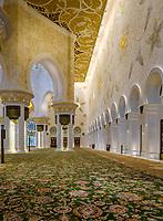 UNITED ARAB EMIRATES, ABU DHABI - CIRCA JANUARY 2017:  Interior of the main prayer hall in Sheikh Zayed Mosque