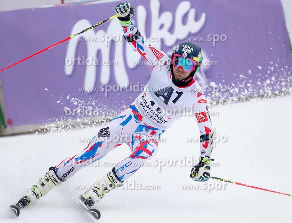 28.02.2016, Hannes Trinkl Rennstrecke, Hinterstoder, AUT, FIS Weltcup Ski Alpin, Hinterstoder, Riesenslalom, Herren, 2. Lauf, im Bild Mathieu Faivre (FRA) // Mathieu Faivre of France reacts after his 2nd run of men's Giant Slalom of Hinterstoder FIS Ski Alpine World Cup at the Hannes Trinkl Rennstrecke in Hinterstoder, Austria on 2016/02/28. EXPA Pictures © 2016, PhotoCredit: EXPA/ Johann Groder
