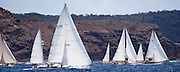 Storm Vogel, Galatea, and Veritas sailing in the Old Road Race at the Antigua Classic Yacht Regatta.
