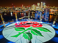 On top of the O2 tower as Wear The Rose launches to support the England Rugby Team.