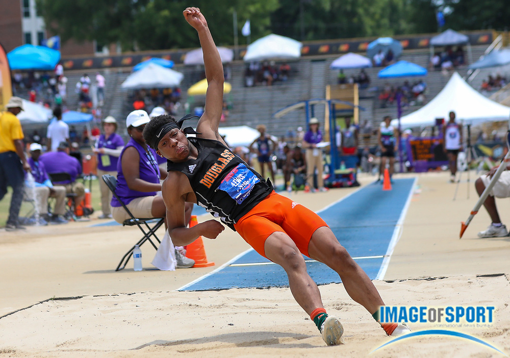 Christian Lewis of Frederick Douglas High School KY placed third in the Boys Long Jump Finals with a jump of 7.47m (24.625) during the New Balance Outdoor Nationals, Sunday, June 16, 2019, in Greensboro, NC. (Brian Villanueva/Image of Sport)