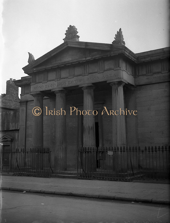 Protestant Churches around Dublin for Belfast Telegraph..Presbyterian Church at Sean MacDermott Street, Dublin 1 now used as a mill...07/01/1956