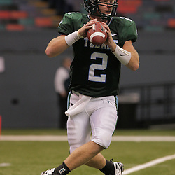 20 September 2008: Tulane quarterback Kevin Moore (2) in action during a Conference USA match up between the University of Louisiana Monroe and Tulane at the Louisiana Superdome in New Orleans, LA.
