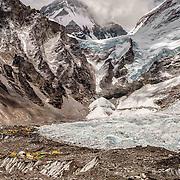 NEPAL, Everest Region, Everest Base Camp. May 12th, 2012. Everest Base Camp and Khumbu Ice Falls.