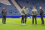 Celtic Captain Scott Brown with his team mates & Manager Neil Lennon ahead of the Betfred Scottish League Cup semi-final match between Hibernian and Celtic at Hampden Park, Glasgow, United Kingdom on 2 November 2019.