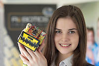 19/04/2013. Repro free.Ireland trailblazes with first ever Irish Junior Mini Sumo Robot Tournament..Niamh Kennedy with her robot Brownie from Villers school Limerick at the Galway Education Centre on the west coast of Ireland who hosted Irish students from all over the country and led the way as they competed in the inaugural Irish Junior Mini Sumo Robot Tournament - the first tournament of its kind in either Ireland or the UK.  Run by Robotics Ireland, the critical aim of this event was to encourage young Irish students to recognise the vital role which Robots will play in all of our futures and to inspire them to embrace this in a creative and fun way. 84 students from 9 schools all over the country competed against each other over the course of the day to see which of their 40 robots would survive and claim the title Irish Junior Mini Sumo Robot Champion for the very first time  Photo:Andrew Downes..