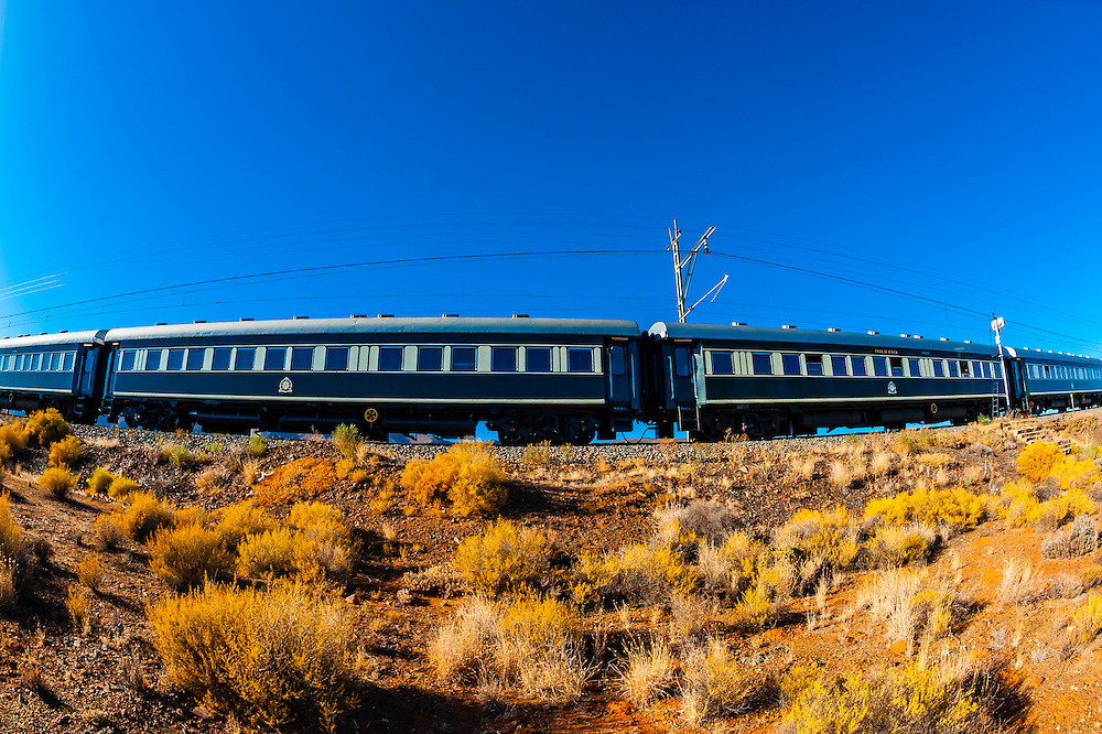 "Rovos Rail train  ""Pride of Africa"" near Matjiesfontein on it's journey between Pretoria and Cape Town, South Africa."