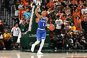 January 15, 2018: Trevan Duval #1 of Duke in action during the NCAA basketball game between the Miami Hurricanes and the Duke Blue Devils in Coral Gables, Florida. The Blue Devils defeated the 'Canes 83-75.