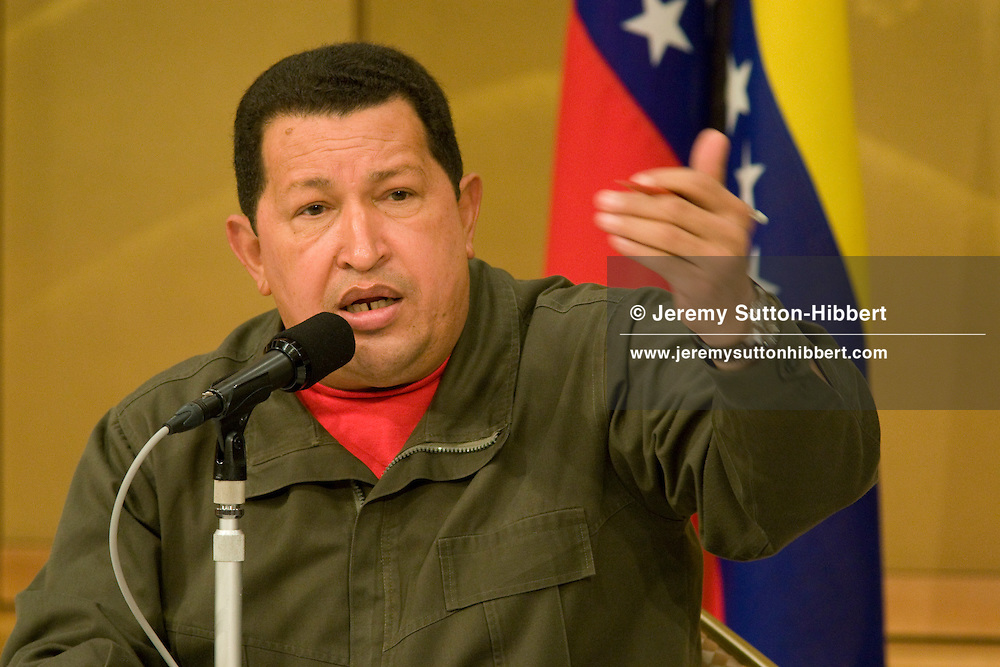 President of Venezuela Hugo Rafael Chavez Frias, speaking at a press conference, in the Imperial Hotel, during his visit to Japan, in Tokyo, Japan. Tuesday 7th April 2009.