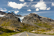 Scenic view of 27-Mile Glacier at Thompson Pass in Southcentral Alaska. Summer. Afternoon.