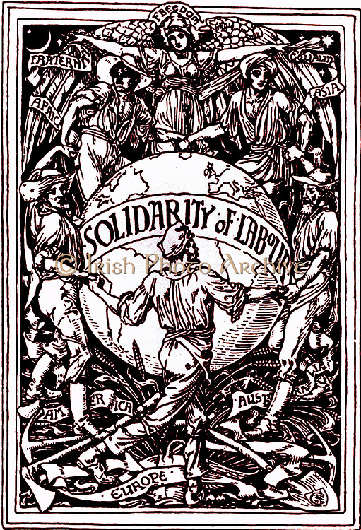 Solidarity of Labour: Freedom, Fraternity, Equality.  Design by Walter Crane (1845-1915), British artist, dedicated to the workers of the world and celebrating Labour's May Day.