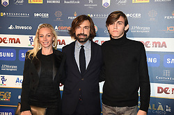 December 3, 2018 - Milan, Italy - Valentina Baldini, Andrea Pirlo and Nicolo Pirlo attend the 'Oscar Del Calcio AIC' Italian Football Awards on December 3, 2018 in Milan, Italy  (Credit Image: © Andrea Diodato/NurPhoto via ZUMA Press)