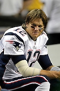 ATLANTA - AUGUST 19:  Quarterback Tom Brady #12 of the New England Patriots sits on the bench during the preseason game against the Atlanta Falcons at the Georgia Dome on August 19, 2010 in Atlanta, Georgia.  The Patriots beat the Falcons 28-10.  (Photo by Mike Zarrilli/Getty Images)