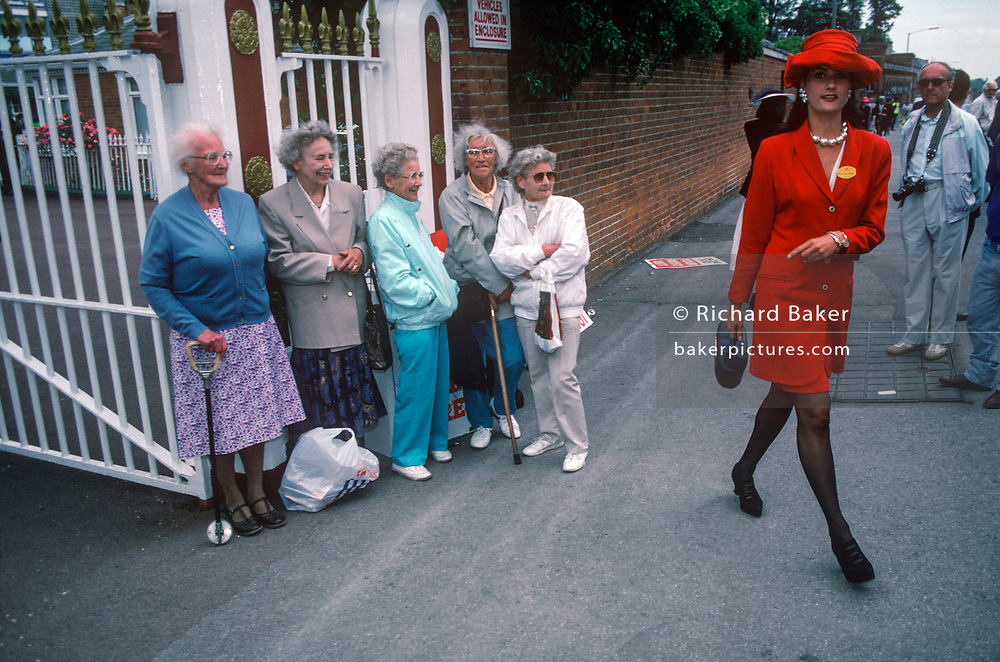 Five elderly women on-lookers are lined against a wall outside the famous Ascot race course on Ladies' Day, the annual event on the English sporting and social calendar in June, on 18th June 1992, in Ascot, England. (Photo by Richard Baker / In Pictures via Getty Images)