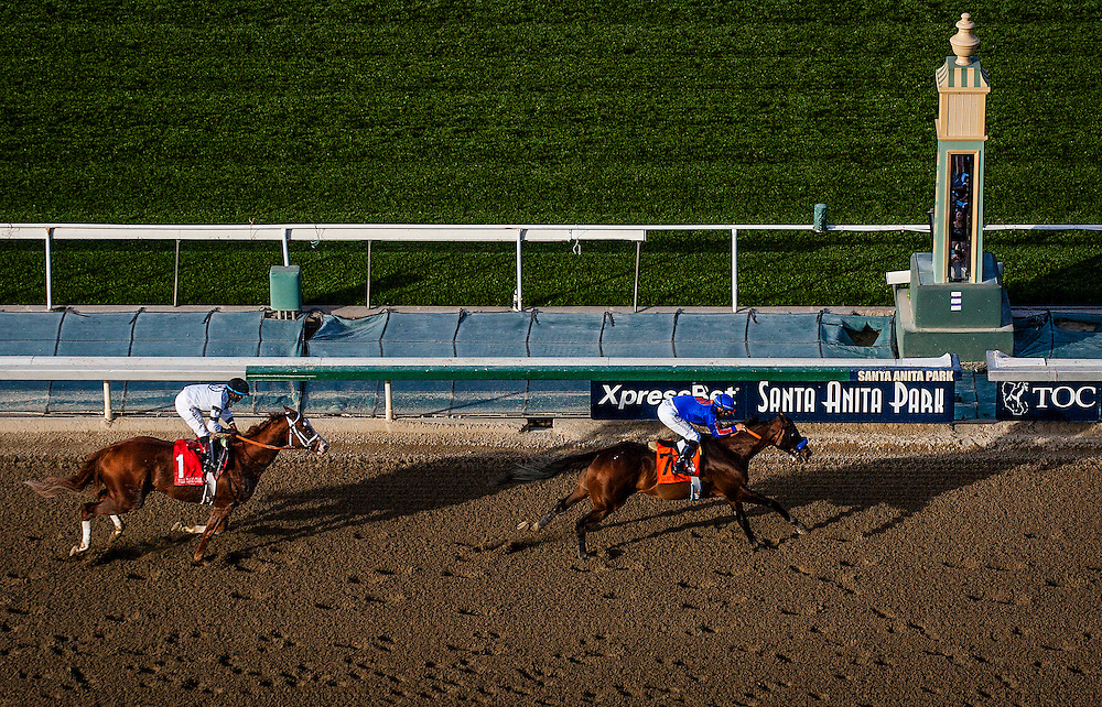 Game on Dude, ridden by Mike Smith defeats Will Take Charge to win the Santa Anita Handicap (G1) at Santa Anita Park on March 8, 2014 in Arcadia, California (Photo by Evers/Eclipse Sportswire)
