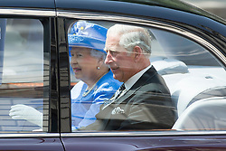 © Licensed to London News Pictures. 21/06/2017. London UK. HRH Queen Elizabeth & Prince Charles heading to Parliament for the Queens speech marking the opening of Parliament. This years speech is expected to be overshadowed by 'day of rage protests' by left wing campaigners.  Photo credit: Andrew McCaren/LNP
