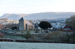 © Licensed to London News Pictures. 02/01/2019. Llanddewi'r Cwm, Powys, Wales, UK. St Davids Church in the small village of  Llanddewi'r Cwm in Powys, is surrounded by a wintry landscape after temperatures dropped overnight to minus 3.5 degrees centigrade in Powys, Wales, UK. credit: Graham M. Lawrence/LNP