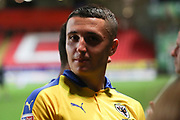 AFC Wimbledon midfielder Anthony Hartigan (8) about to walk down the tunnel during the EFL Trophy match between Charlton Athletic and AFC Wimbledon at The Valley, London, England on 4 September 2018.
