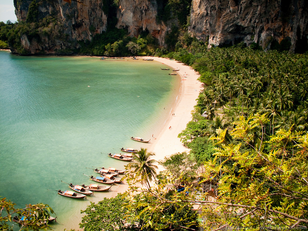 Longtail boats anchored at Tonsai Beach, Thailand.