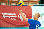 Katowice, Poland - 2017 September 02: Partner Jukka Lehti from SO Finland serves the ball while SO Finland versus SO Czech Republic during European Unified Volleyball Tournament 2017 at Spodek Hall on September 02, 2017 in Katowice, Poland.<br /> <br /> Adam Nurkiewicz declares that he has no rights to the image of people at the photographs of his authorship.<br /> <br /> Picture also available in RAW (NEF) or TIFF format on special request.<br /> <br /> Any editorial, commercial or promotional use requires written permission from the author of image.<br /> <br /> Image can be used in the press when the method of use and the signature does not hurt people on the picture.<br /> <br /> Mandatory credit:<br /> Photo by © Adam Nurkiewicz / Mediasport