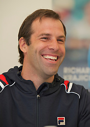 LIVERPOOL, ENGLAND - Thursday, June 16, 2011: Greg Rusedski (GBR) at a press conference day one of the Liverpool International Tennis Tournament at Calderstones Park. (Pic by David Rawcliffe/Propaganda)