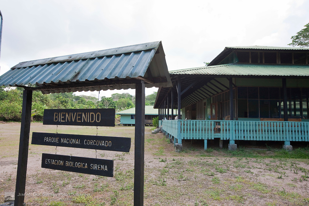 Welcome sign at the Sirena Biological Station in Corcovado National Park, Costa Rica