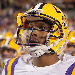 Oct 31, 2009; Baton Rouge, LA, USA; LSU Tigers quarterback Russell Shepard (10) prior to kickoff against the Tulane Green Wave at Tiger Stadium. LSU defeated Tulane 42-0. Mandatory Credit: Derick E. Hingle