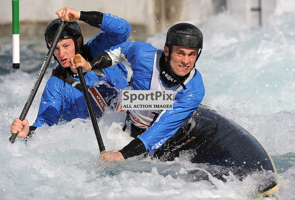 Winners- Adam Burgess & Greg Pitt  competing in the GB Canoe Slalom 2013 Selection Finals at the Lea Valley White water Centre, Hertfordshire, England. Held on the 28th April 2013..WAYNE NEAL | STOCKPIX.EU
