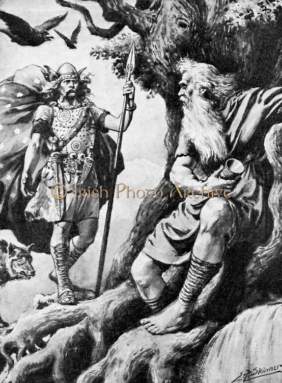 Odin or Wotan. One of principal gods of Norse mythology. God of War. Here he seeks wisdom to make him all-powerful. For this he sacrifices one eye. With him are the ravens Huggin (Thought) and Muninn (Memory). Halftone c1900.