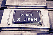 Street sign in old town Vieux Lyon, France (UNESCO World Heritage Site)