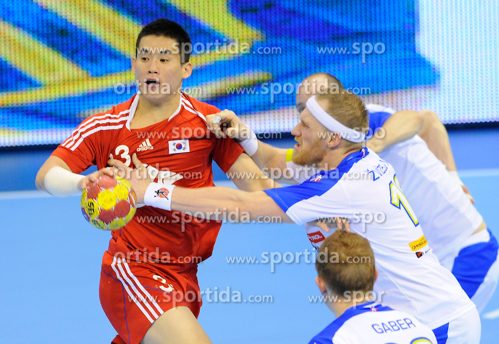 Kim Dong cheol during the match against Slovenia