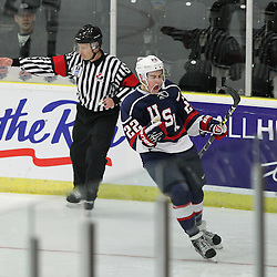 COBOURG, - Dec 16, 2015 -  Game #7 - United States vs Switzerland at the 2015 World Junior A Challenge at the Cobourg Community Centre, ON. Ross Colton #22 of Team United States celebrates the goal during the first period. (Photo: Tim Bates / OJHL Images)