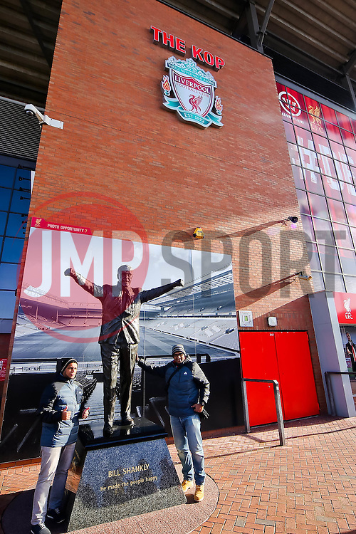A general view as fans have their pictures taken with the Bill Shankly Statue outside Anfield ahead of the Barclays Premier League fixture between Liverpool and Manchester City  - Photo mandatory by-line: Matt McNulty/JMP - Mobile: 07966 386802 - 01/03/2015 - SPORT - Football - Liverpool - Anfield Stadium - Liverpool v Manchester City - Barclays Premier League