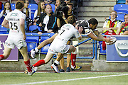 Widnes' Joe Mellor fails to stop Hull's Fetuli Talanoa getting over for Hull's second try during the Super 8s Round 2 match between Widnes Vikings and Hull FC at the Select Security Stadium, Halton, United Kingdom on 11 August 2016. Photo by Craig Galloway.