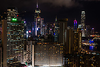 cityscape at night on Causeway Bay in Hong Kong
