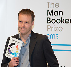 Royal Festival Hall, London, October 12th 2015. Man Booker Prize for Fiction Finalists gather at the Royal Festival Hall on the eve of the £50,000 prize winner's announcement. PICTURED: British Writer Tom McCarthy, author of Satin Island, published by Jonathan Cape.