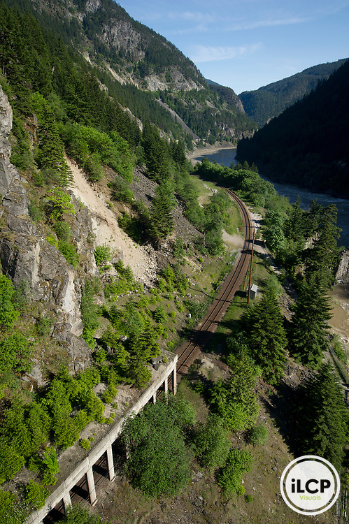 Train tracks along the Fraser at Hell's Gate.
