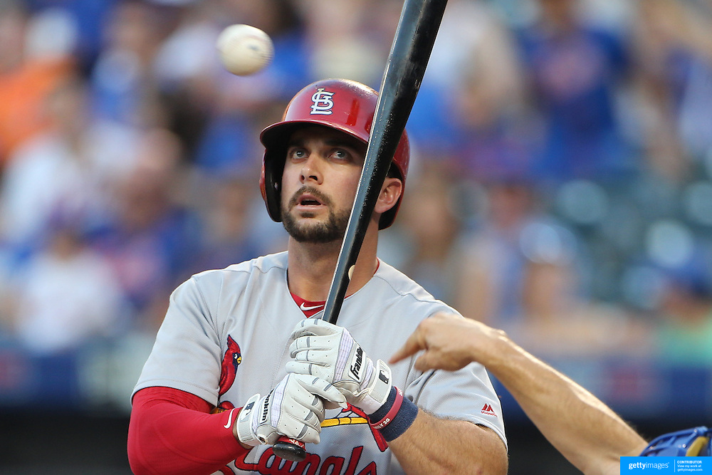 NEW YORK, NEW YORK - July 27: Greg Garcia #35 of the St. Louis Cardinals batting during the St. Louis Cardinals Vs New York Mets regular season MLB game at Citi Field on July 27, 2016 in New York City. (Photo by Tim Clayton/Corbis via Getty Images)