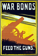 War bonds. Feed the guns! Artist Thomas, Bert, 1883-1966. Published:  1915 Summary: Poster showing a range of artillery, with soldier looking through a telescope.