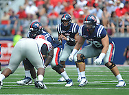 Ole Miss quarterback Randall Mackey (1) calls signals against Georgia at Vaught-Hemingway Stadium in Oxford, Miss. on Saturday, September 24, 2011. Georgia won 27-13.