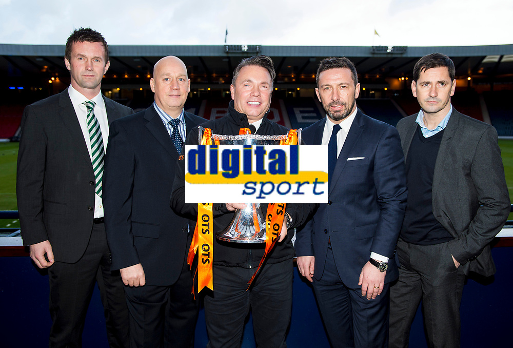 28/01/15<br /> HAMPDEN - GLASGOW <br /> As the Scottish League Cup Semi-Finals approach QTS Managing Director Alan McLeish (centre) joins (L/R) Celtic Manager Ronny Deila, Rangers Caretaker Manager Kenny McDowall, Aberdeen Manager Derek McInnes and Dundee United Manager Jackie McNamara at Hampden