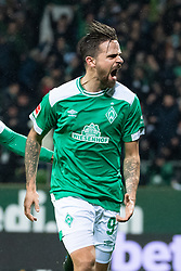 BREMEN, Dec. 8, 2018  Bremen's Martin Harnik celebrates his scoring during a German Bundesliga match between SV Werder Bremen and Fortuna Duesseldorf, in Bremen, Germany, on Dec. 8, 2018. Duesseldorf lost 1-3. (Credit Image: © Kevin Voigt/Xinhua via ZUMA Wire)