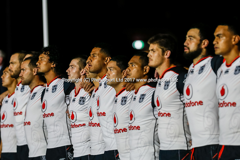 Warriors player line up during the national anthem .Melbourne Storm v Vodafone Warriors, Round 8 of the 2017 NRL Rugby League Premiership season at AAMI Park in Melbourne, Australia. 25 April 2017. Copyright photo: Brendon Ratnayake / www.photosport.nz