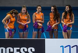 02-04-2016 NED: Draisma Dynamo - Abiant Lycurgus, Apeldoorn<br /> Lycurgus plaatst zich voor de finale door Dynamo met 3-1 te verslaan / Cheerleaders van Dynamo, celebrate, entertainment