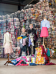 Model Anna Freemantle, and Scottish fashion designer Niki Taylor, showing fashion students about upcycling clothes, at the UK&rsquo;s second largest textile recycling facility, Nathan&rsquo;s Wastesavers, in Denny.<br /> &copy; Michael Schofield.