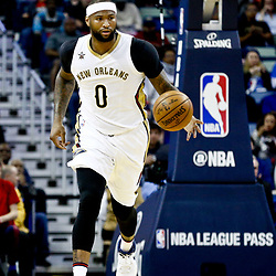 Mar 3, 2017; New Orleans, LA, USA; New Orleans Pelicans forward DeMarcus Cousins (0) during the first quarter of a game against the San Antonio Spurs at the Smoothie King Center. Mandatory Credit: Derick E. Hingle-USA TODAY Sports