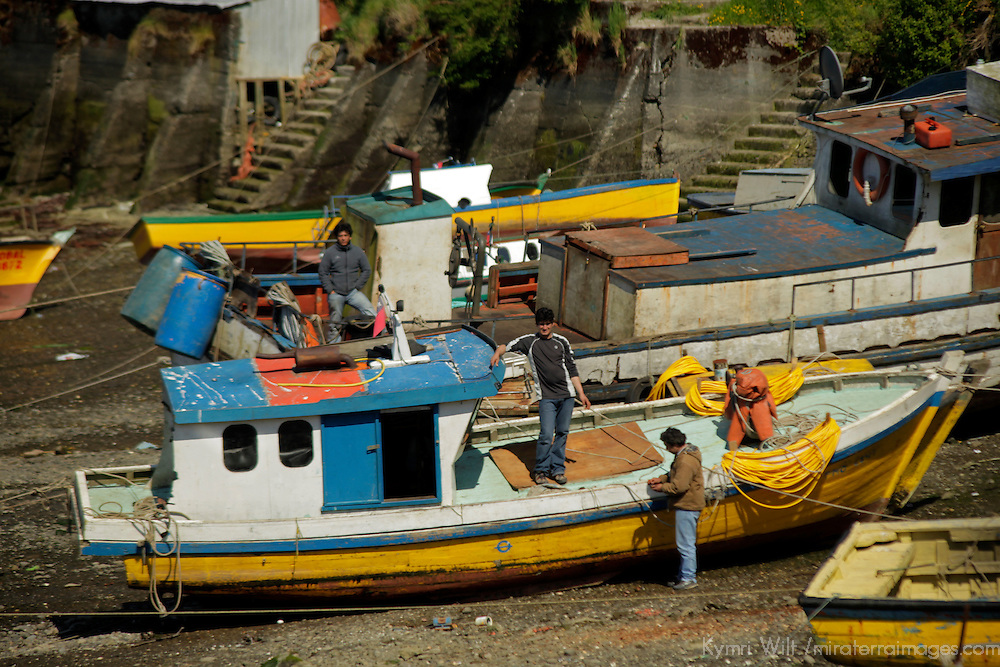 South America, Chile, Puerto Montt. Fishing boats in harbor at Puerto Montt.