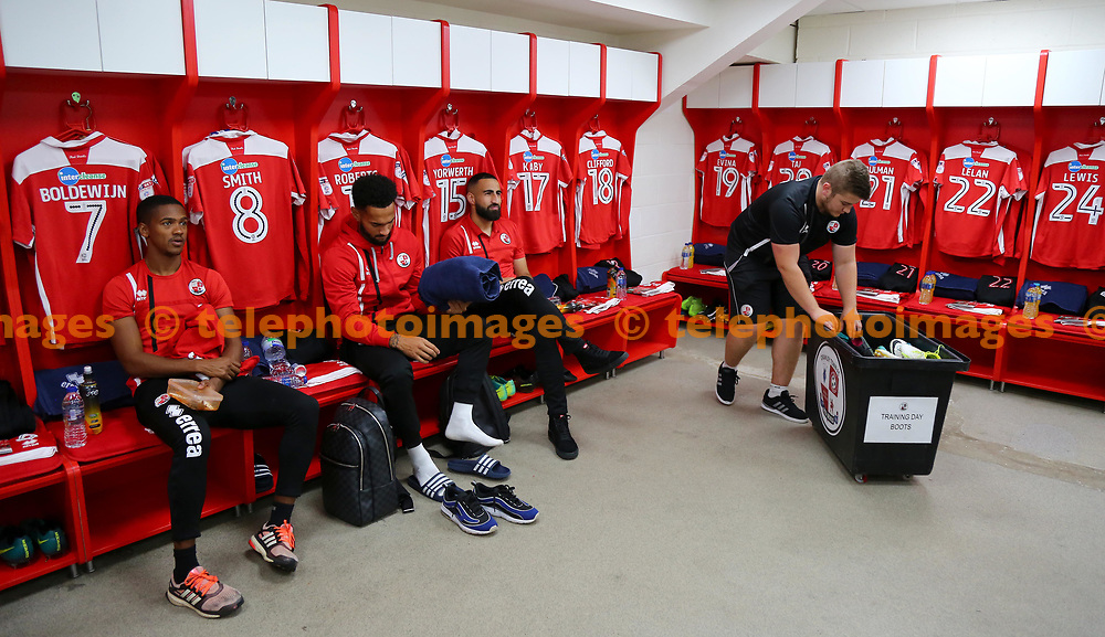 Kit man Dave gets the players kit ready during the Sky Bet League 2 match between Crawley Town and Luton Town at the Checkatrade Stadium in Crawley. 21 Oct 2017